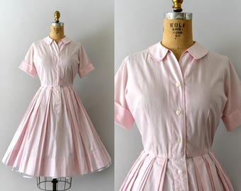 1950s Vintage Dress - 50s Light Pink Shirtwaist Day Dress