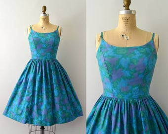 Vintage 1950s Sundress - 50s Blue Floral Cotton Sun Dress