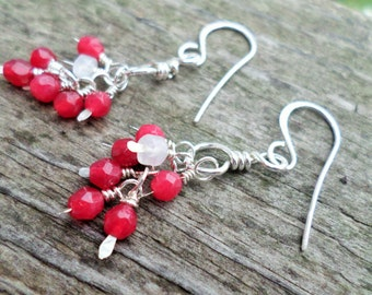 Sterling Silver Dangle Earrings/ Faceted Red Jade and Moonstone in a hand-sewn gift bag
