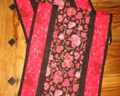 Reserved for Monica-Valentine's Day Table Runner, Quilted Red Pink and Black, Reversible Runner, 100% cotton fabrics, 13 x 46""