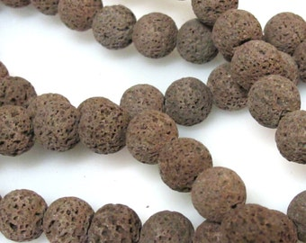 10 Beads - Brown color lava beads round shape 10 mm size - NB151