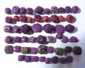 Kazuri Beads, 50 Kazuri Beads, Violet/Purple Orange and Green Coloured Ceramic Beads, Kazuri African Beads No. 248
