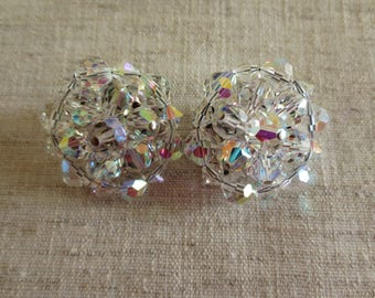 Vintage beautiful AB crystal glass bead round design earrings silver tone clip on earrings. 1 pair of earrings.