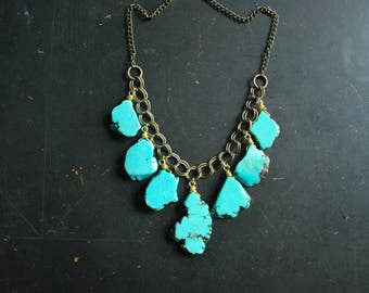 Turquoise Howlite Jumble Necklace - FREE Shipping - OOAK