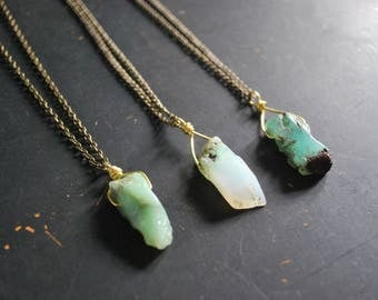 FREE Shipping - Chrysoprase Wire Wrapped Necklace - OOAK
