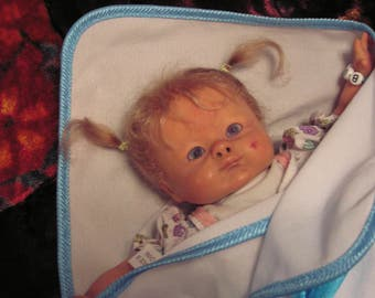 Reborn doll , Vintage Sculpt , Genesis paint ,Strawberry birhtmark,  Mohair micro rooted, Cloth body , Her first Easter Basket baby,