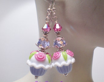 Lavender & White Cupcake Earrings w/ Pink Flowers and Green Leaves. Birthday Cupcake Earrings in Lavender and Pink