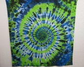 Green and Blue Spiral Tie Dye Tapestry