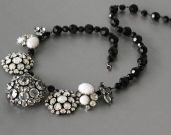 Blank and White Statement Necklace. Designer Vintage Rhinestone Jewelry, Repurposed