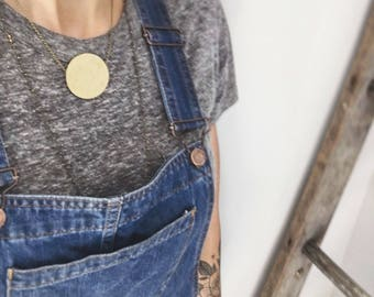 CIVAL Collective - Hollin   Necklace   Brass Moon Necklace   Geometric Round Necklace   Circle Pendant   Crescent Moon Jewelry