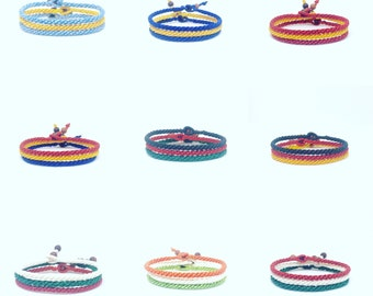 Flags Of The World Fair Trade Wax Cotton Thai Wristband Handcrafted Friendship Bracelet Wristwear