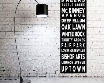 Typography Canvas Print, 20x60, Personalized, Custom, Words on Canvas, Typography, Subway Sign, Canvas Print, Wall Decor, Wall Art, Dallas