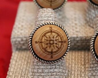 Compass Rose Ring - Wood Laser Ring - Nautical Ring - Adjustable Ring