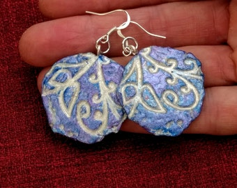 Paper earrings,recycled paper,upcycled jewelry,lightweight and durable,abstract round,blue and silver,paper mache,Flame Bilyue