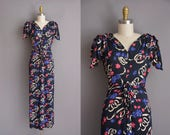 40s vintage dress. 1940s dark navy blue floral full length vintage rayon dress