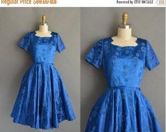 20% OFF SHOP SALE... vintage 1950s dress / 50s satin royal blue full skirt vintage party dress