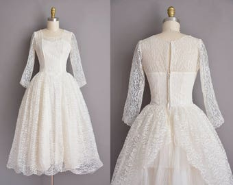 50s vintage dress. 50s white full lace tea length vintage classic wedding dress