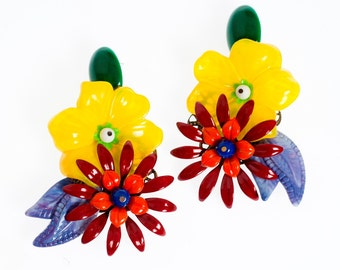 Chunky Party Earrings, Big Colorful Flowers Statement Earring, Bold Unique Women's Earrings, Oversize Jewelry