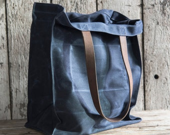 Waxed Canvas Marlowe Carryall in Rook, Indigo Tote, Waxed Canvas Bag, Shoulder Bag, Market Tote, Waxed Canvas Carryall, Leather, For Him