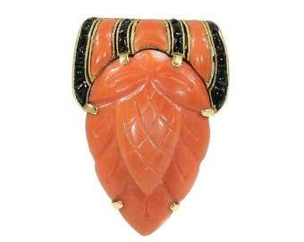 30% Off Winter Sale Coral Strawberry Clip - Red and Black onyx gold 1920's Art Deco jewelry