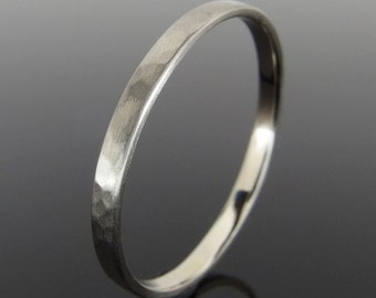 Hammered 14k White Gold Band Ring, White Gold Wedding Ring, White Gold Wedding Band, 14k Gold Ring, Satin Finish, 2 x 1 mm