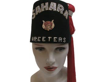 Vintage Shriners Fez Sahara Greeters Rhinestone Fraternal Turkish Fez with Tassel Will Fit a Size 7 or Size Small