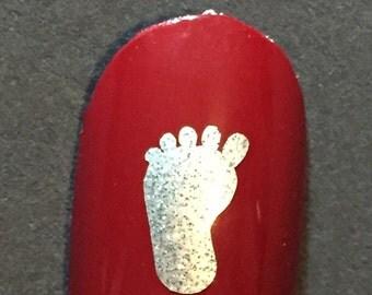 Baby Footprint Toe nail / finger nail decals / stickers / art pedicure foot