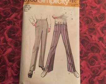 70's Vintage Mens Pants Sewing Pattern