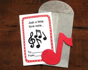 Music Note Valentines- SET OF 8 - includes color printed card, seed paper, and glassine envelope- choose from 16 seed paper colors