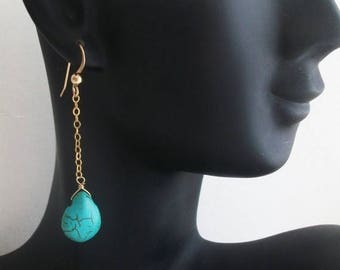 SALE 20% OFF Turquoise earrings - Drop Earrings - Turquoise gold earrings - Turquoise jewelry - Bridal Earrings - Chritmas gift - for her, m