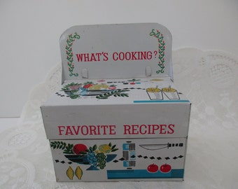 vintage small DECORATIVE TIN -recipe box, 1960s, 1970s, retro, fruit, What's Cooking?