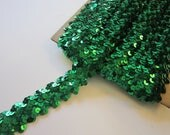 10 yards sequin trim - GREEN - 1.25 inches wide - as is