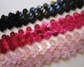 3 yards elastic sequin trim - YOUR CHOICE of pale pink, hot pink, or black - 3/4 inch wide