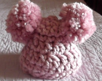 New Color..Blossom Pink Pom Pom Hat....Baby Girl... 3 up to 6  Month Size ...Adorable Photo Prop -  Ready - to - Ship...Only 1 Available