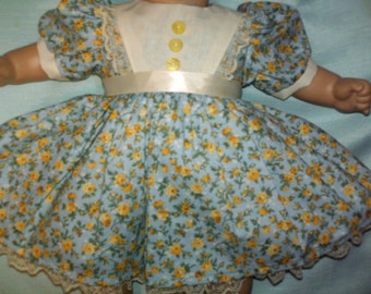 "15"" 16"" American Made Baby Doll Clothes Yellow Floral N Lace Girl Doll Dress with panties fits 14"" 15"" 16"" Dolls"