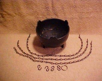 Cast Iron Style 3-Legged Hanging Plant Cauldron w/ Chains
