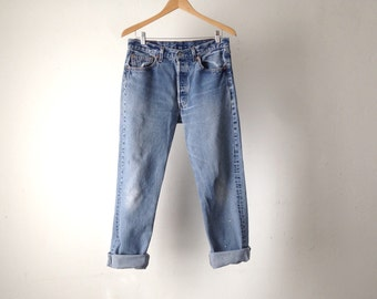 vintage 501 LEVI jeans distressed faded 33 x 32 501's men's womens jeans vintage 80s 90s faded denim blue jeans