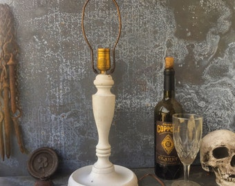 """Primitive Wooden Candlestick Lamp / Chalk White / 15"""" Base to Finial"""