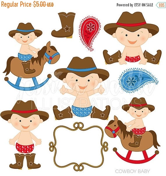 ON SALE Cowboy Baby Boy Cute Digital Clipart, Cowboy Clip art, Cowboy Graphics, Baby cowboy, western baby, baby in boots, paisley, rope fram