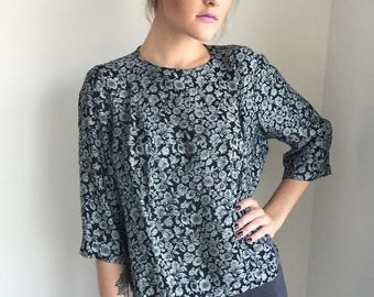 vintage 1960s crop top blouse / 50s crop shirt / black silver floral pattern / pin up madmen /  vlv ROSITA