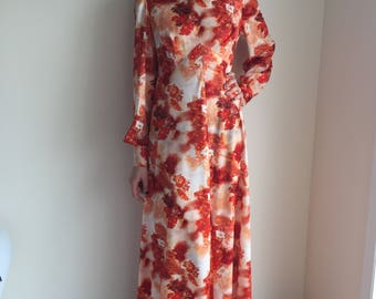 vintage 70s maxi dress rust red brown hostess dress hippie boho long dress size large