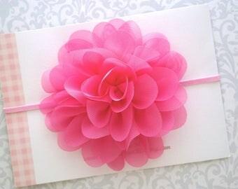 Pink Baby Headband, Pink Headband, Pink Flower Headband, Baby Flower Headband, Baby Headband, Newborn Headband, Toddler Headband, Baby Girl