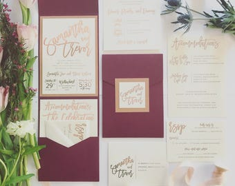 Kendall Pocketfold - Rose Gold Foil, Rose Gold Glitter Backer, Ivory + Burgundy (customizable)