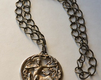 Sagittarius Necklace with Large Chain Vintage Astrological Necklace