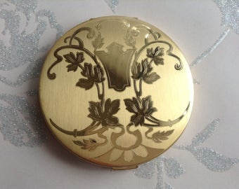 Vintage Elgin American Compact Mirror Made in USA Gold Coloured Art Nouveau Style