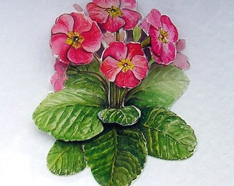 Pink Primrose Hand Crafted 3D Decoupage Card, Blank for any Occasion (1950), Layered Card, Birthday Card, Get Well Card, Mothers Day, Sister