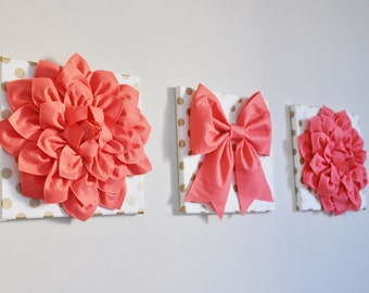 Vintage Inspired Flowers and Bow Art Banner Set, Gold Polka Dot Wall Art Plaques Coral White Gold Nursery Print Wall Hanging Set
