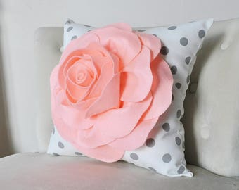 Peachy Pink Pillow Cover, Salmon Pillow, Pale Coral Throw Pillows,Polka Dot  Pillow, Nursery Pillow, Rose Pillows, Shabby Chic Decor Pillow