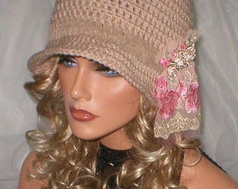 35% OFF SALE Crochet Radiant Beige Taupe Suede Embroidered Applique 1920's Cloche Flapper Hat