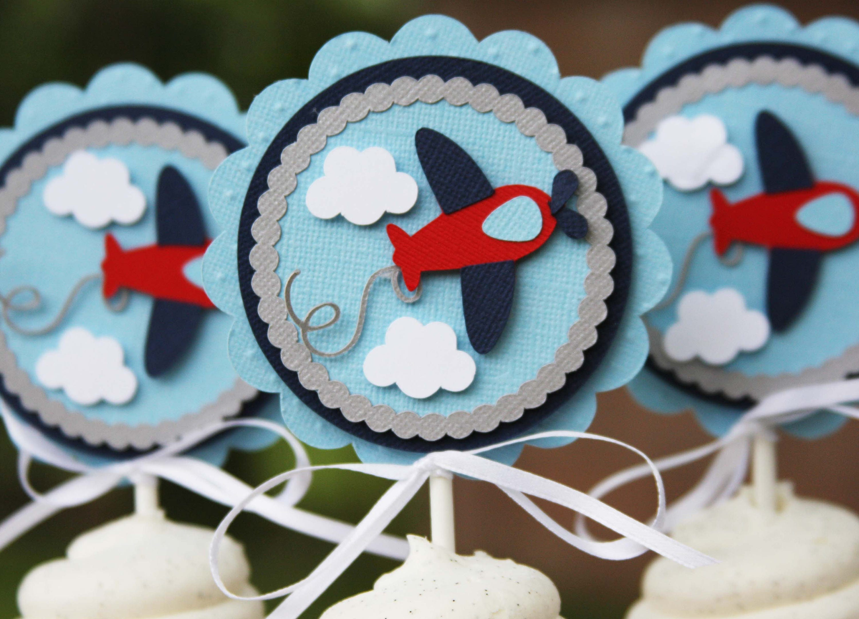airplane toppers cupcake toppers airplane baby shower airplane